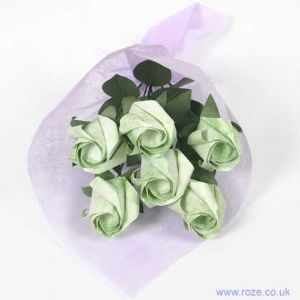 Marble green rose bouquet, [6r3]